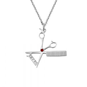 Personalized Hairdresser Necklace with Birthstone