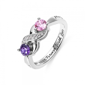 Patent Infinity Ring along Birthstone Silver Sterling