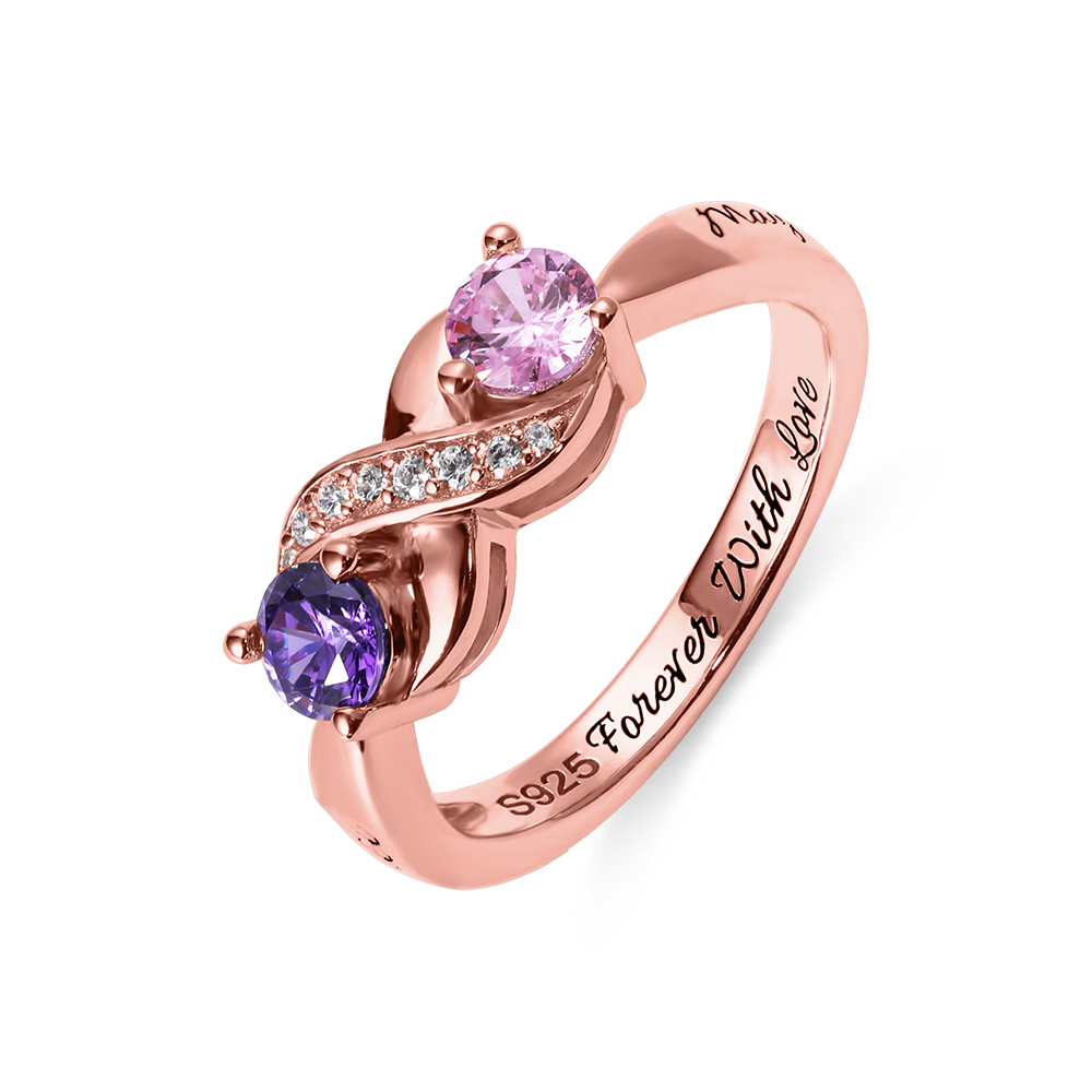 Engraved Infinity Ring with Birthstone Rose Gold