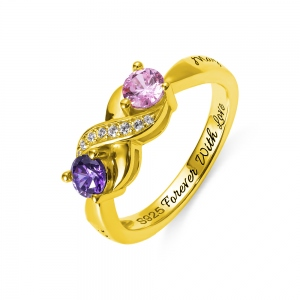 Engraved Birthstone Infinity Ring in Gold