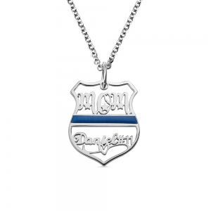 Personalized Name Badge Necklace for Police Mother