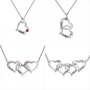Personalized Intertwined Hearts Necklace with Birthstone in Silver