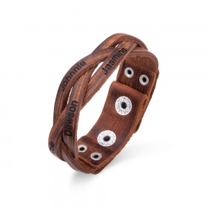 Personalized Text Weave Leather Bracelet