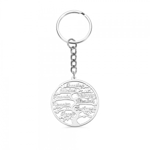 Personalized 1-13 Name Life Family Tree Keychain in Silver
