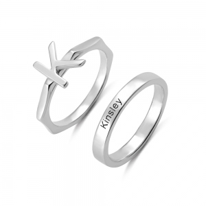 Personalized Stacking Rings Letter Rings & Band Rings