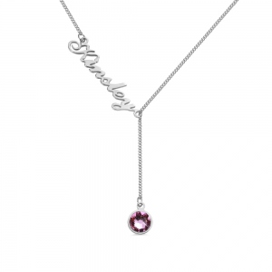 Personalized Simple Name & Birthstone Y Necklace
