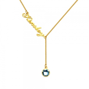 Personalized Simple Name & Birthstone Y Necklace in Gold