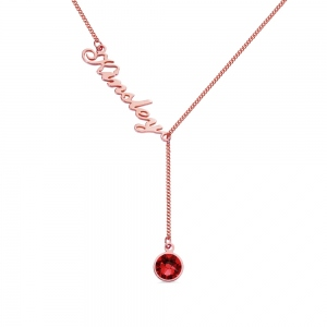 Personalized Y-Shaped Necklace with Engraving & Birthstone