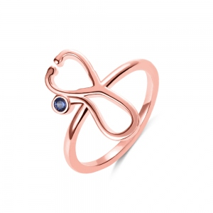 Personalized Stethoscope Birthstone Ring in Rose Gold