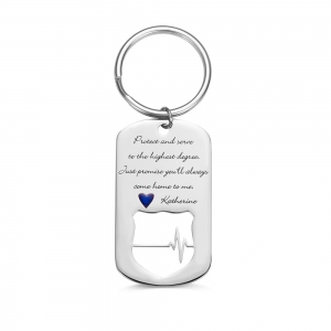 Personalized Police Badge Keychain