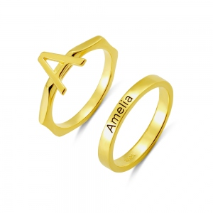 Custom Stackable Rings Letter Rings Band Rings