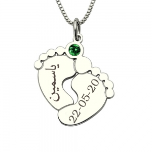 Personalized Arabic Baby Feet Birthstone Necklace