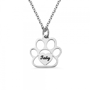 Personalized Pet Footprint Name Necklace