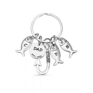 Personalized Father Fishing Keychain