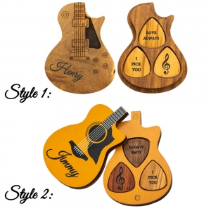 Personalized Wood Guitar Picks with Case