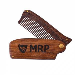 Engraved Wooden Beard Comb for Men