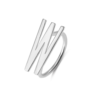 Personalized Big Letter Ring in Silver