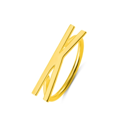 Personalized Big Letter Ring in Gold