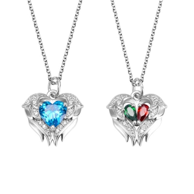 Personalized Angel Wing Necklace with Birthstones