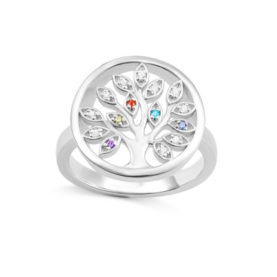 Personalized Family Tree Birthstone Ring in Silver
