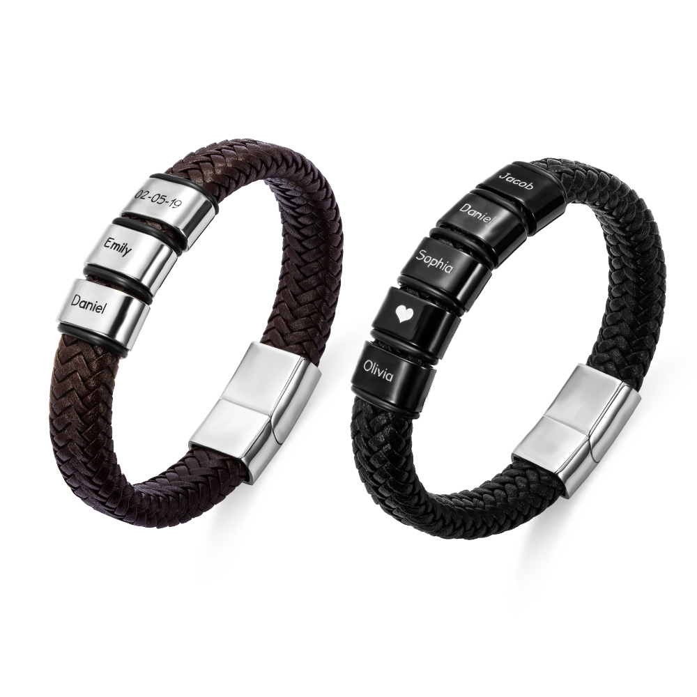 Personalized Beaded Weave Leather Bracelet for Men