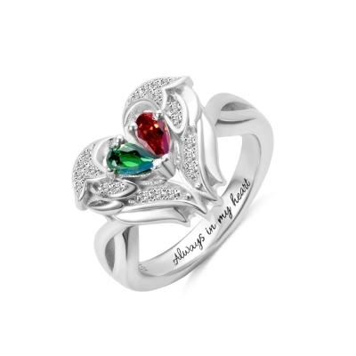 Customize Angel Wings Ring with Two Birthstones
