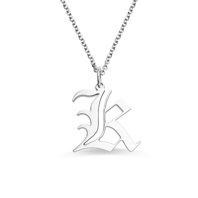 Personalized Old English Initial Necklace for Woman