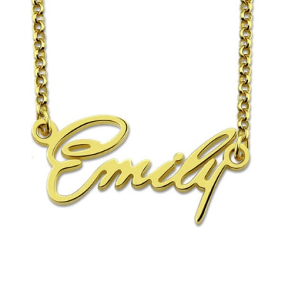 Personalized Tiny Name Necklace Gold Plated Silver