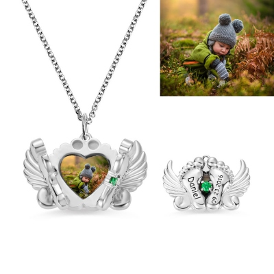 Personalized Photo and Name Angel Wing Feet Necklace in Silver