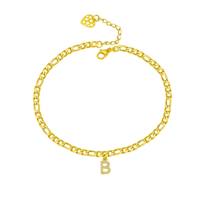 Personalized Unique Sparkle Initial Anklet in Gold