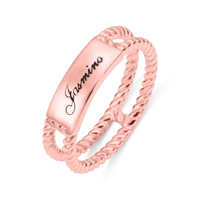 Personalized Twisted Rope Ring Rose Gold