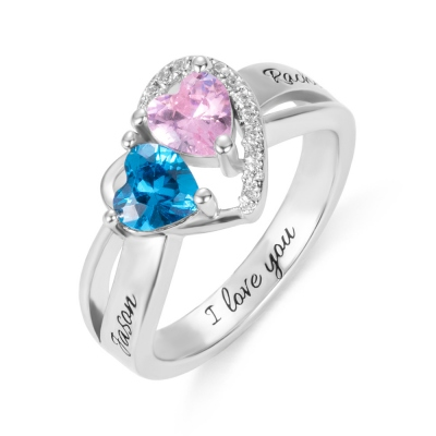 Engraved Heart Birthstone Promise Ring