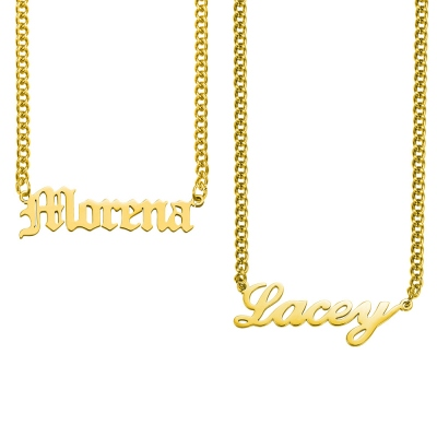 Custom Name Plate Necklace Cuban Chain Multiple Font Styles