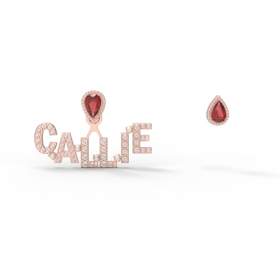 Personalized Letter Earrings with Water Drop Birthstone