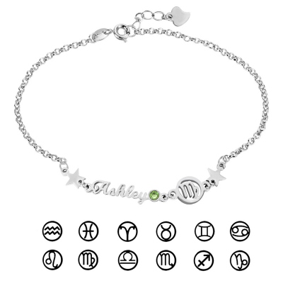Personalized Constellation Name Bracelet with Birthstone