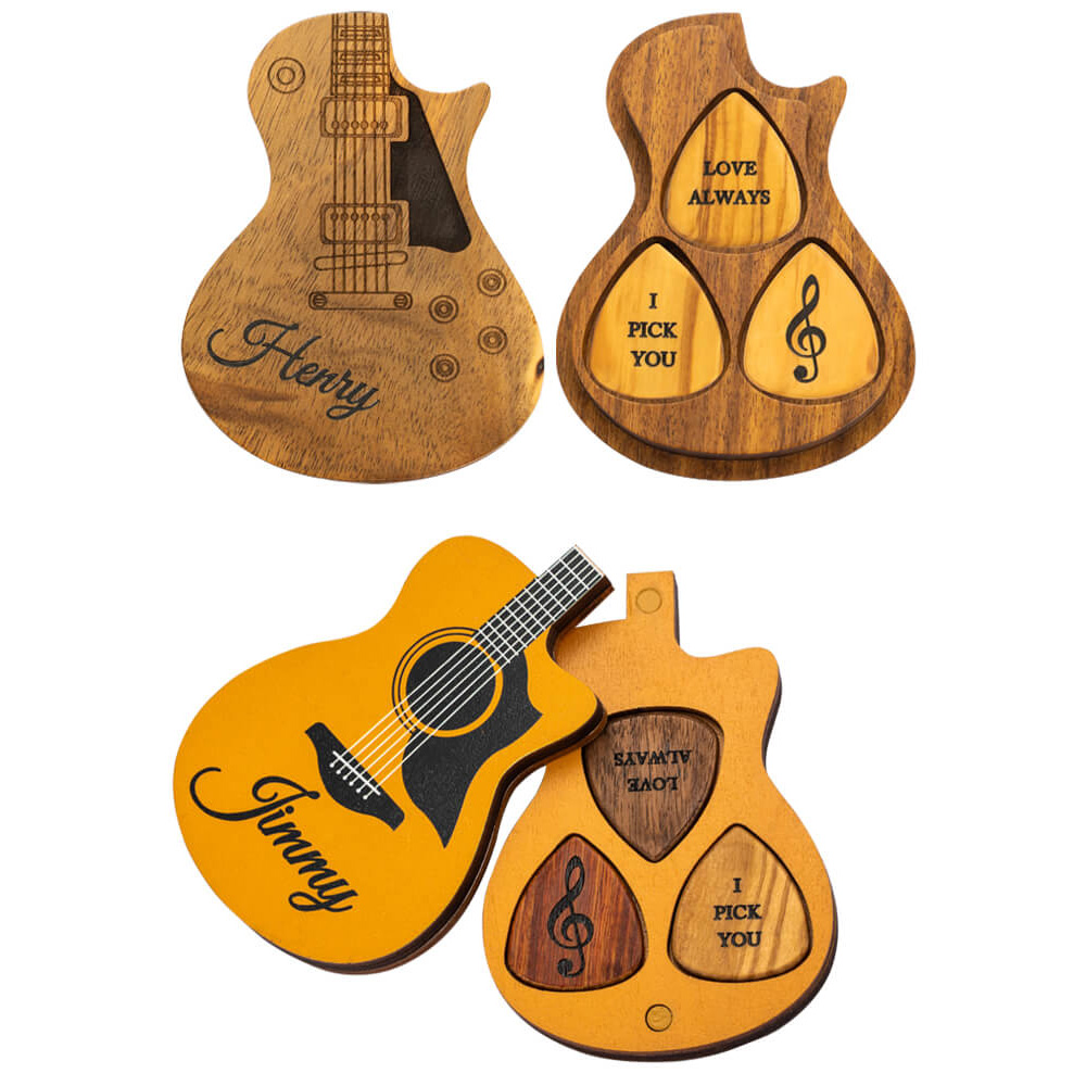 Customized Wooden Guitar Picks with Case