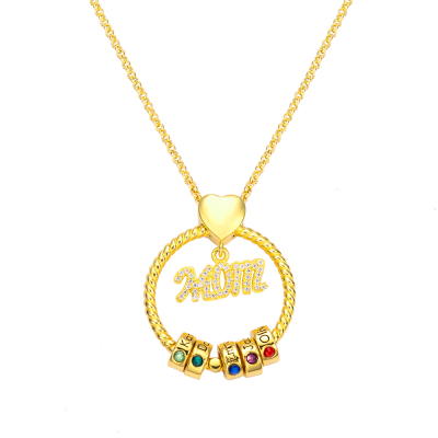 Personalized Name and Birthstone Family Necklace for Mother in Gold