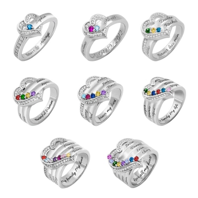 Customized Hearts and Birthstones Family Ring