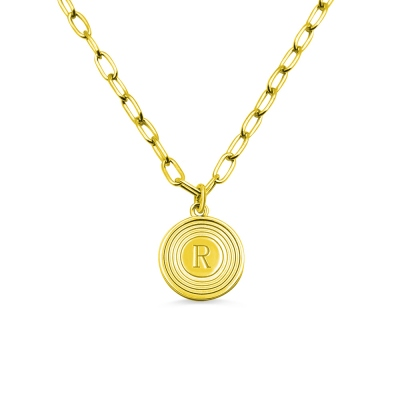 Personalized Initial Link Necklace in Gold