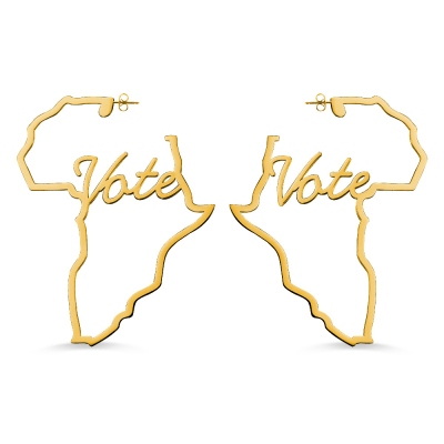 Personalized Africa Map Hoop Earrings