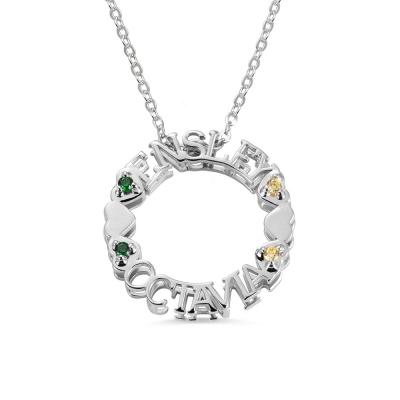 Custom Circle Name Necklace with Birthstones