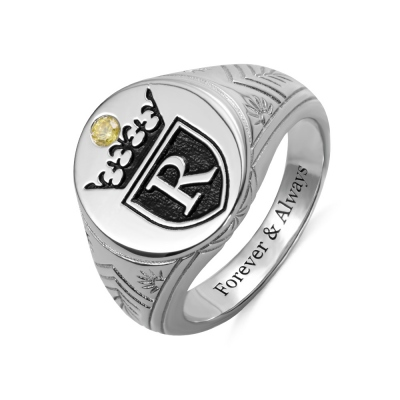 Personalized Initial Engraved Signet Ring with a Crown for Man