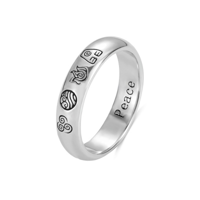 Personalized The Last Airbender 4 Elements Ring