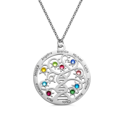 Personalized Family Tree Name Necklace with Birthstone