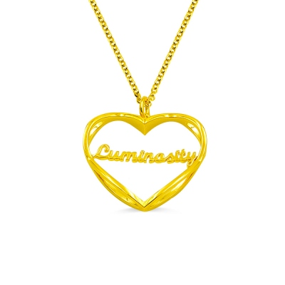 Personalized Heart Shape Infinity Necklace