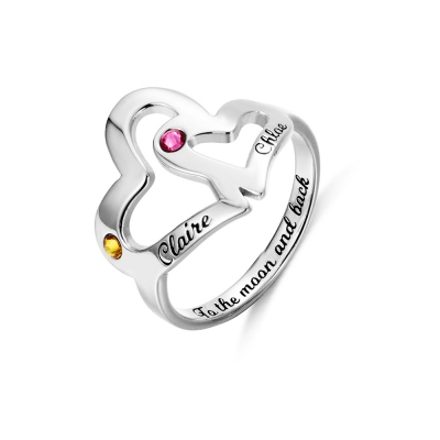 Personalized Mother Daughter Heart Ring