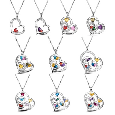 Heart-shaped Birthstone Family Necklace with Customized 1-10 Names