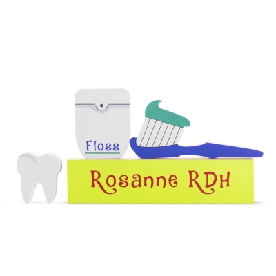 Personalized Toothbrush, Tooth, and Dental Floss Wooden Block Set