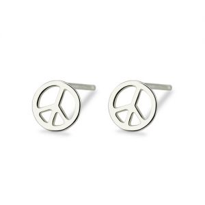 Peace Sign Stud Earring Sterling Silver