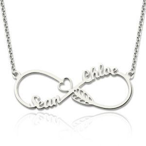 Arrow Knot Necklace with Names Sterling Silver